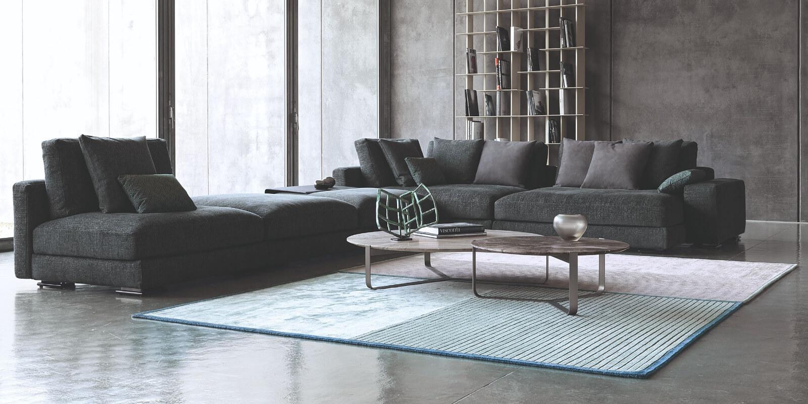 Tappeto moderno grigio e azzurro