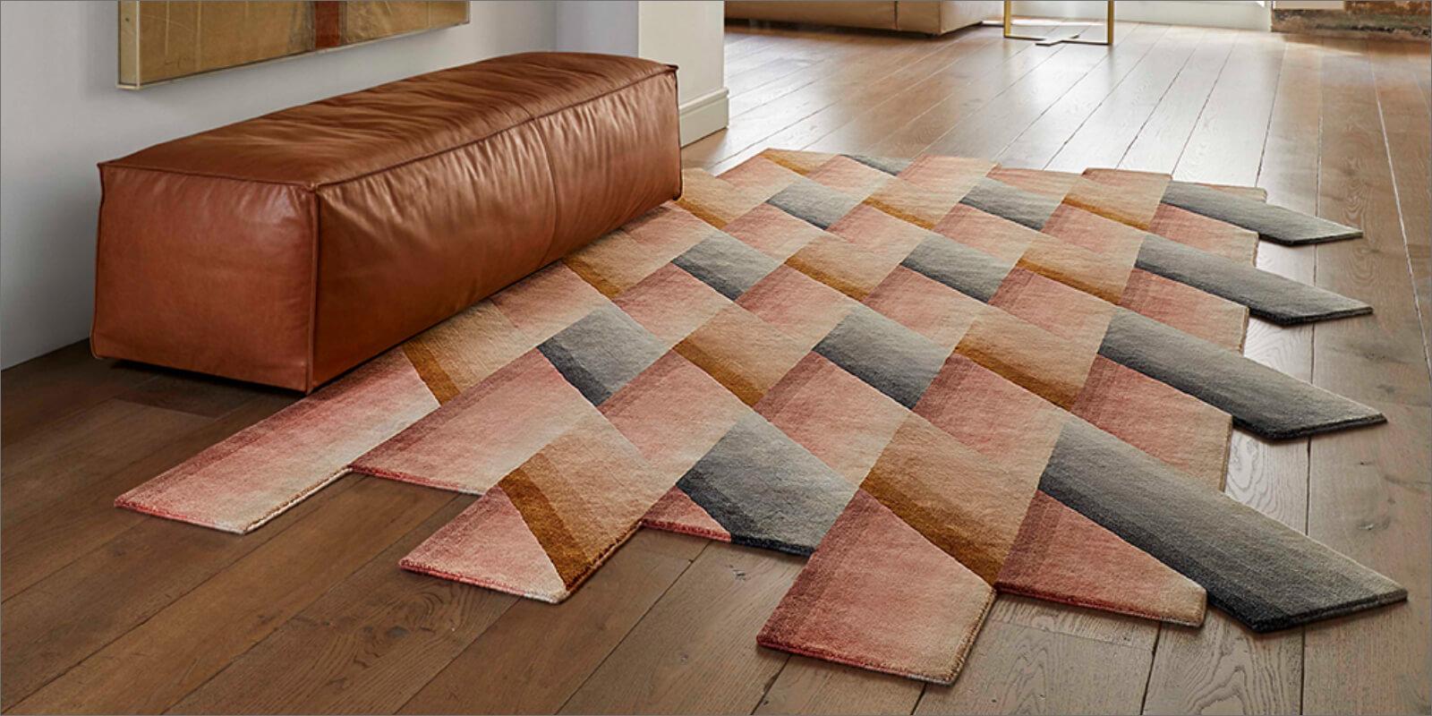 tappeto moderno rosso e arancio