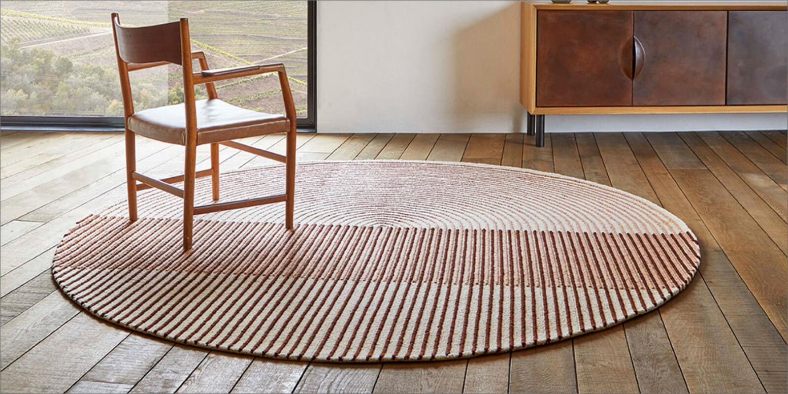 tappeto moderno rotondo a righe